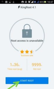 After installing kingroot, launch it on your device.